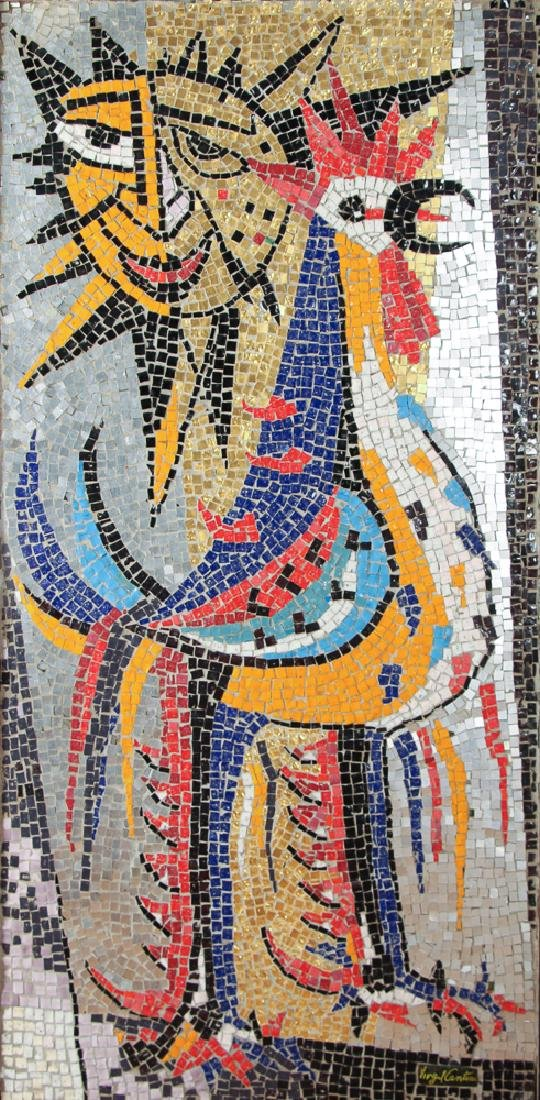 Virgil Cantini mosaic' Rooster and Fence