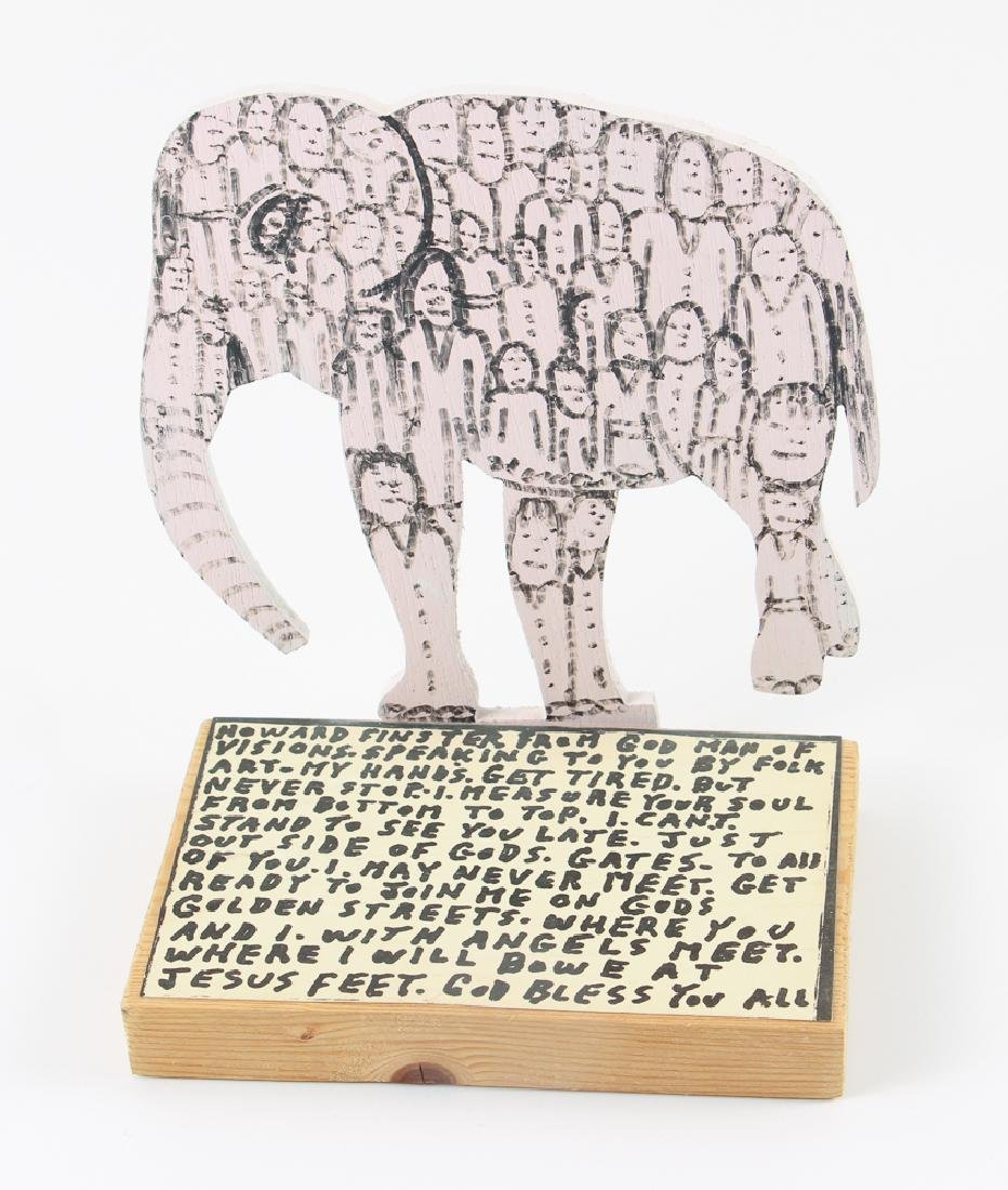 Reverend Howard Finster Elephant Wooden Sculpture