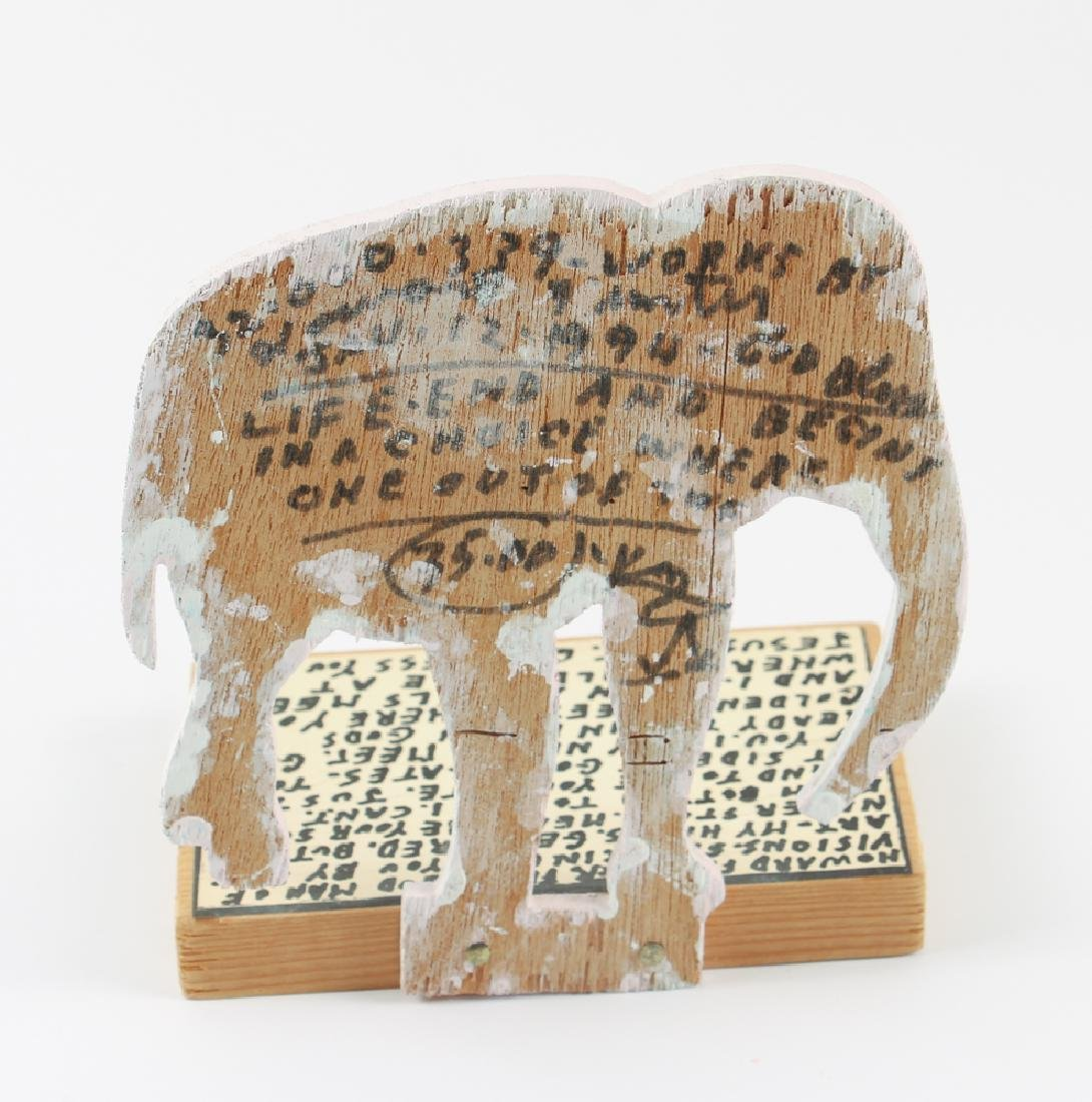 Reverend Howard Finster Elephant Wooden Sculpture - 2