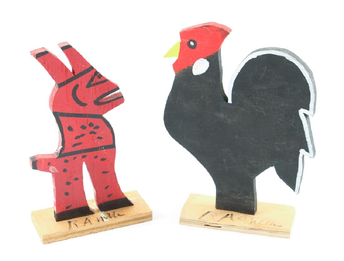 2 R. A. Miller painted wood creatures, Rooster and Red