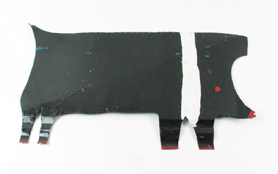 R. A. Miller painted metal Black Pig
