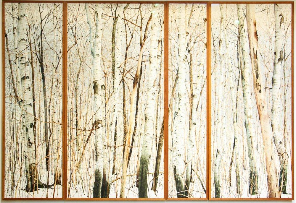 Charles Pitcher 4 panel watercolor polytch Momoyama