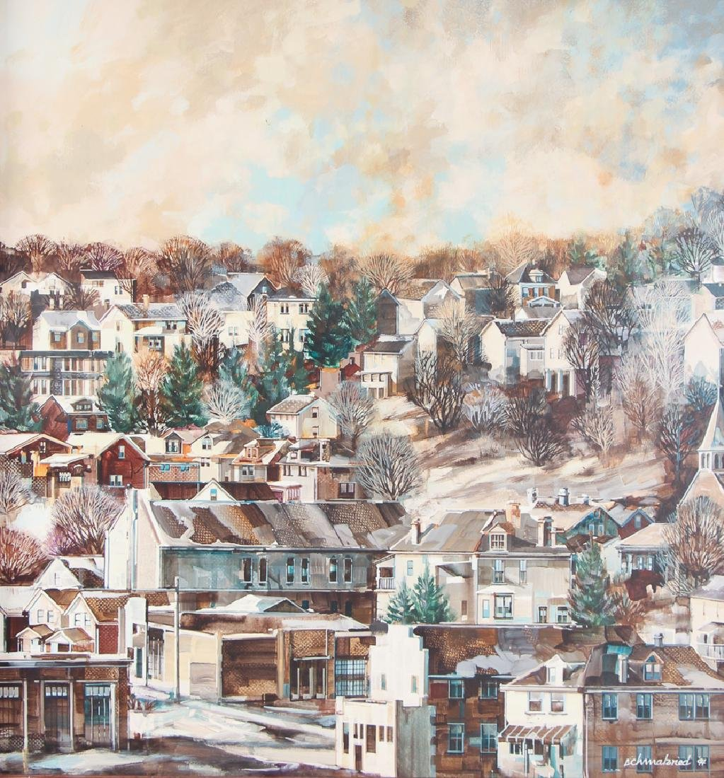 Robert Schmalzried painting Housing in North Hills