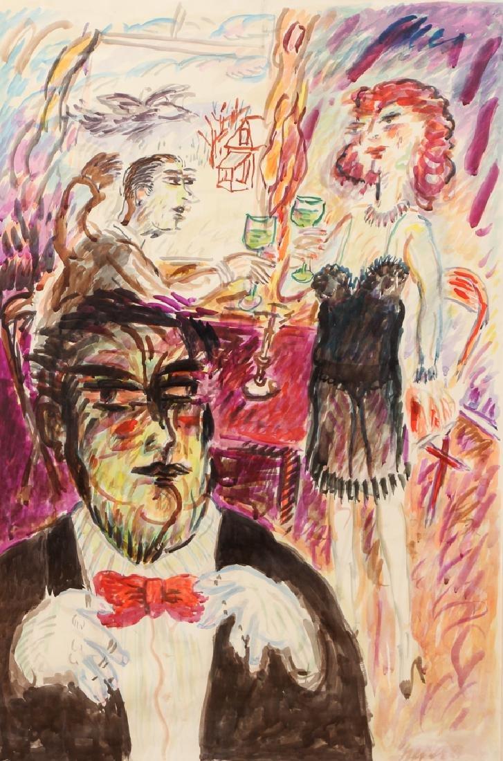 Joe Shepler 1995 watercolor Red Bow Tie