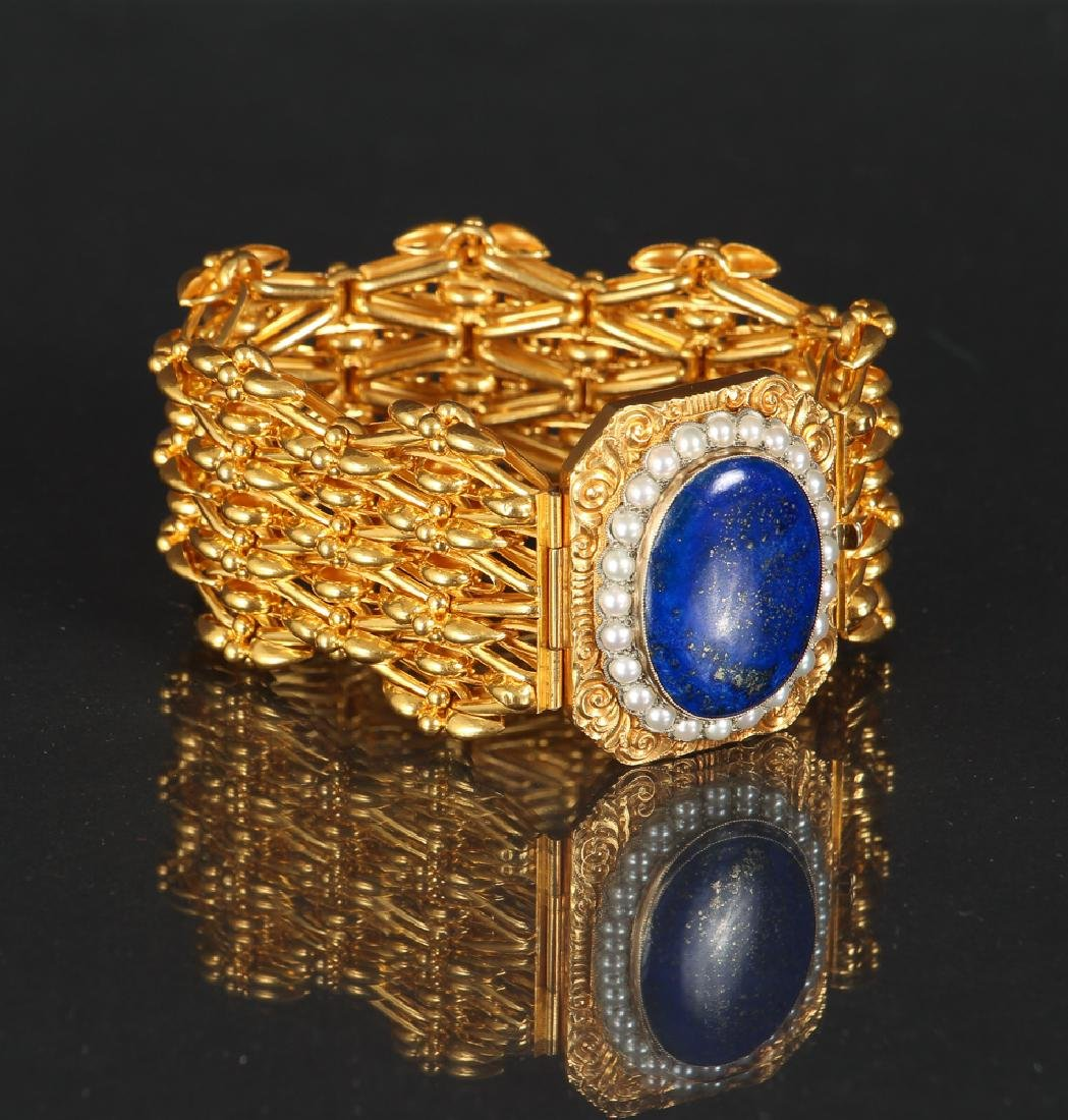 14K Gold Lapis and Pearl Bracelet