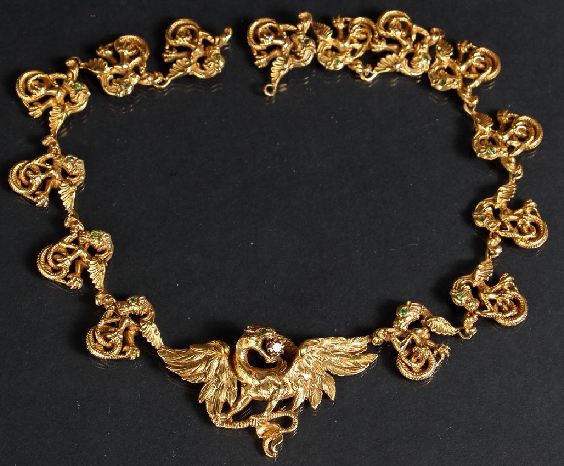 Elaborate Dragon Themed 14K Gold Necklace