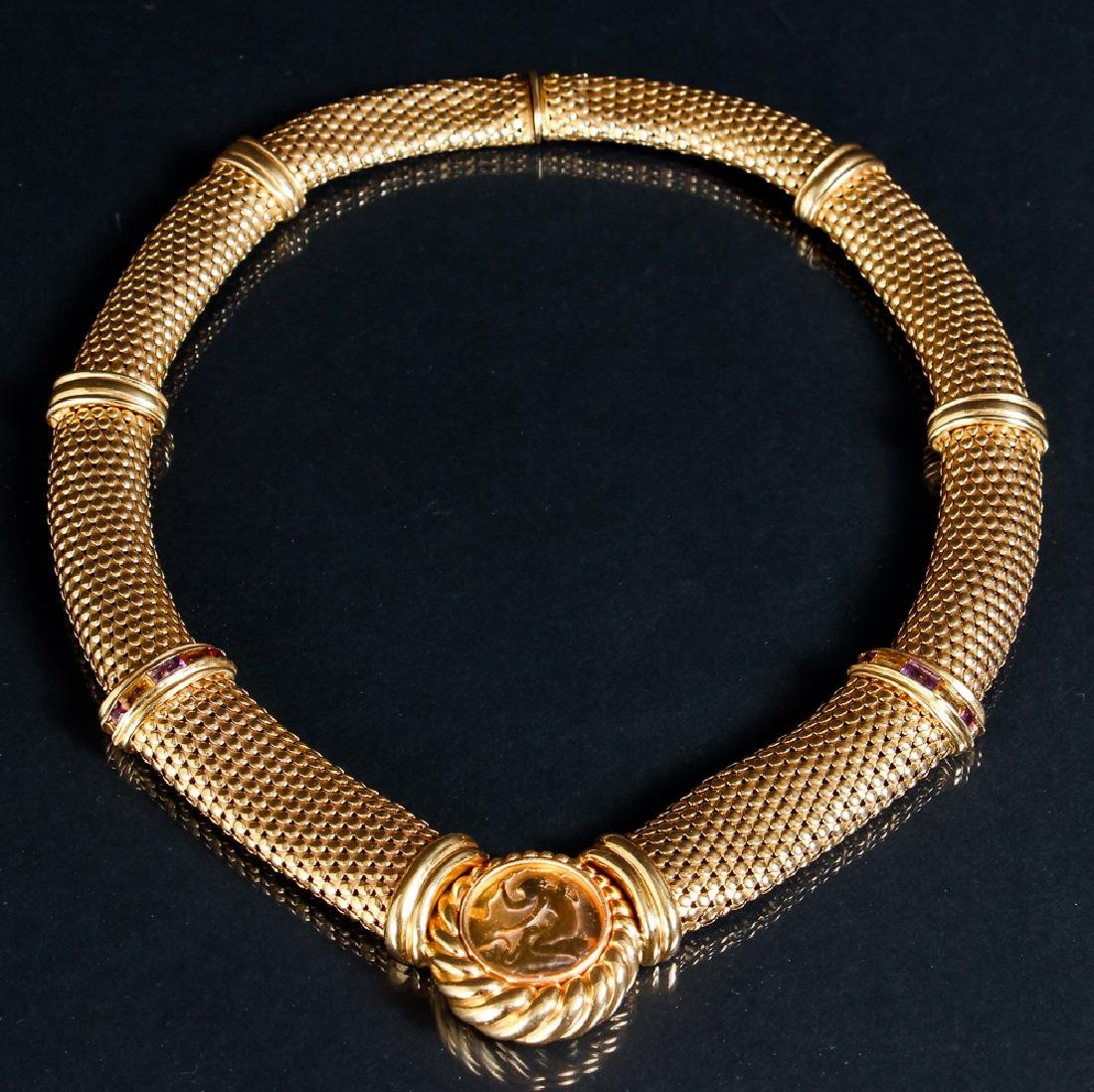 14k Gold Necklace with Leda and Swan Accent