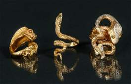 Three 14 K Gold Snake or Serpent Rings