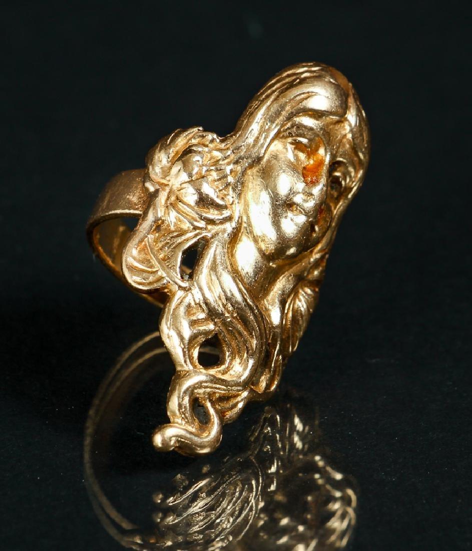 Art Nouveau Inspired 14 K Gold Ring