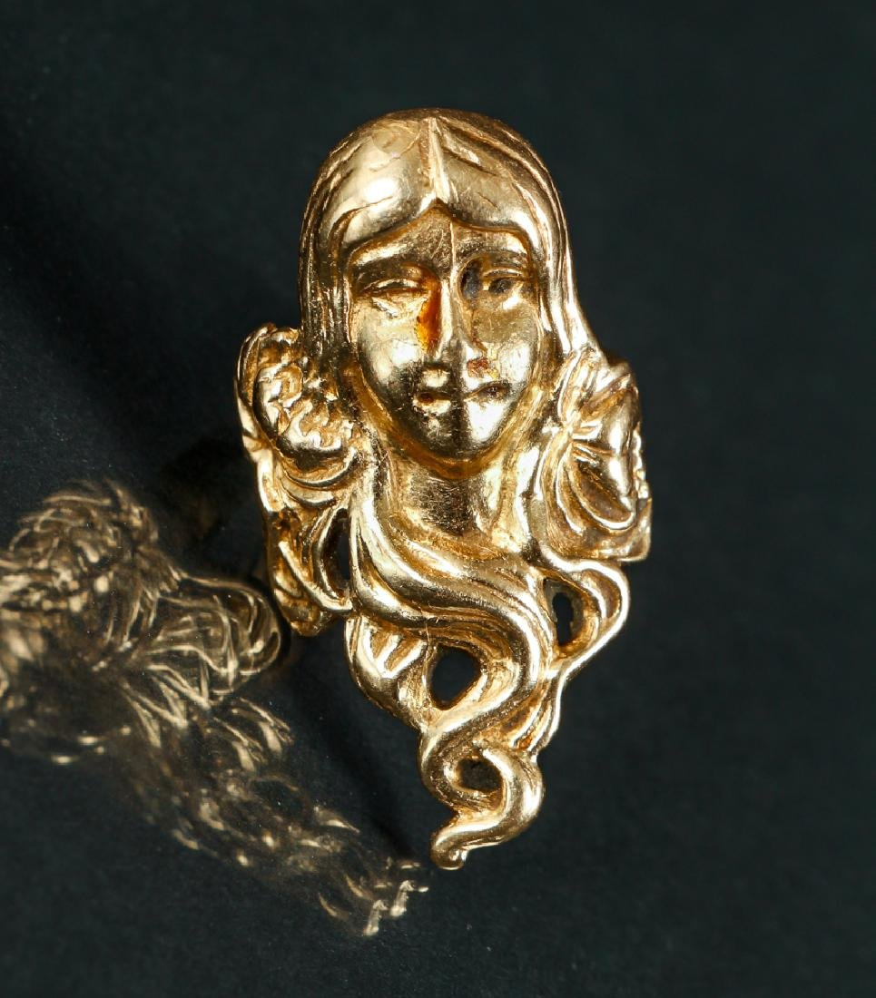 Art Nouveau Inspired 14 K Gold Ring - 3