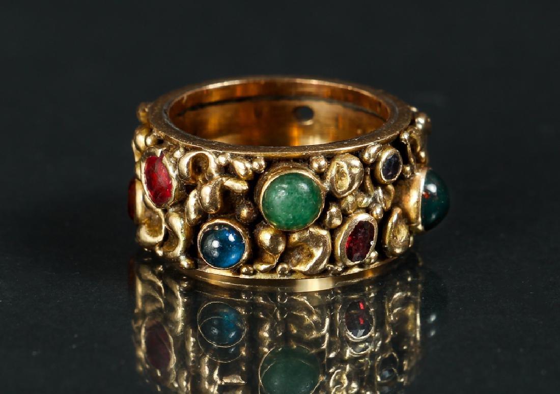 14 K Gold Ring Set with Various Gemstones - 2