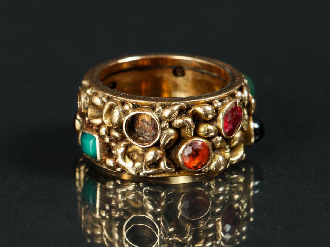 14 K Gold Ring Set with Various Gemstones - 3