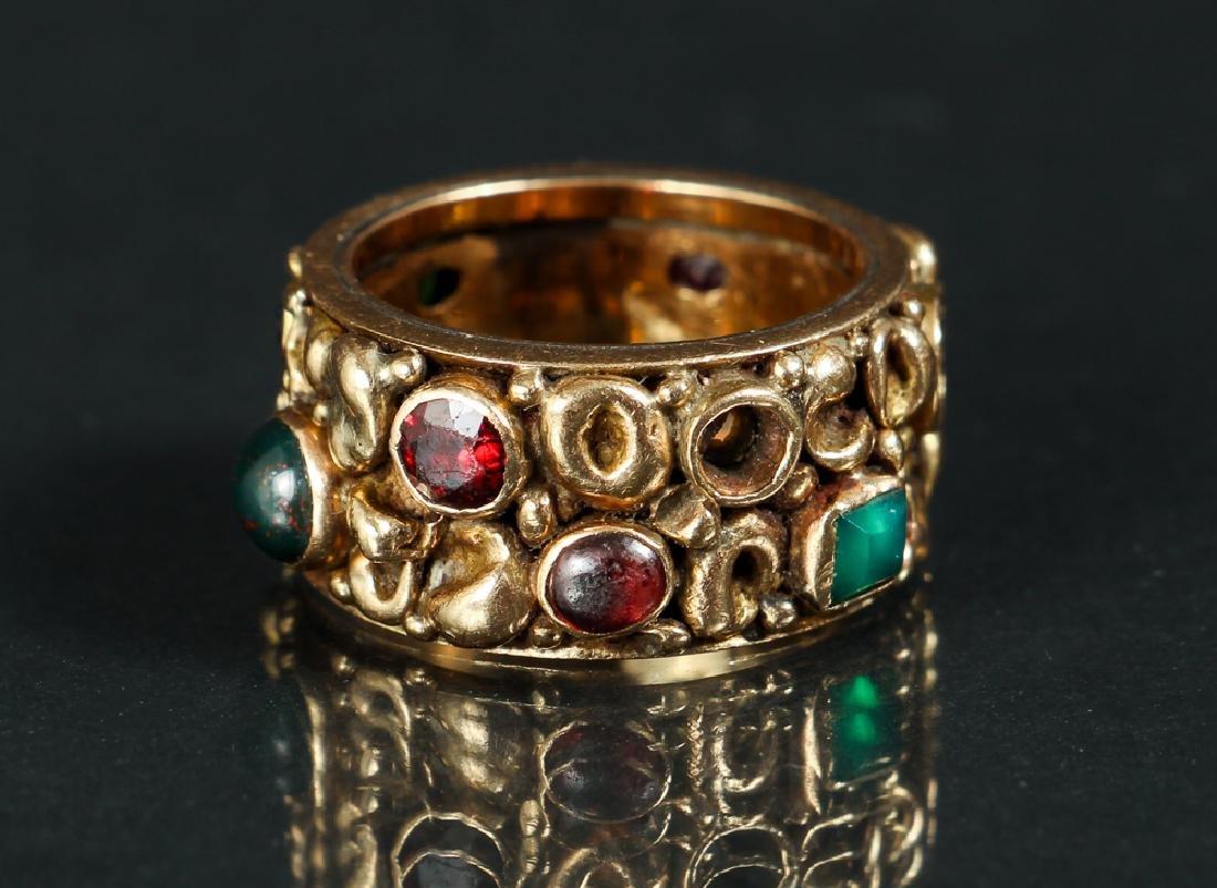 14 K Gold Ring Set with Various Gemstones - 4