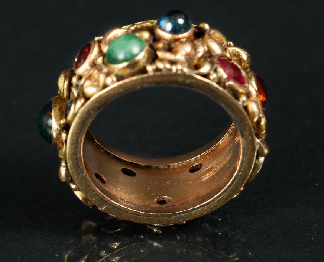 14 K Gold Ring Set with Various Gemstones - 5