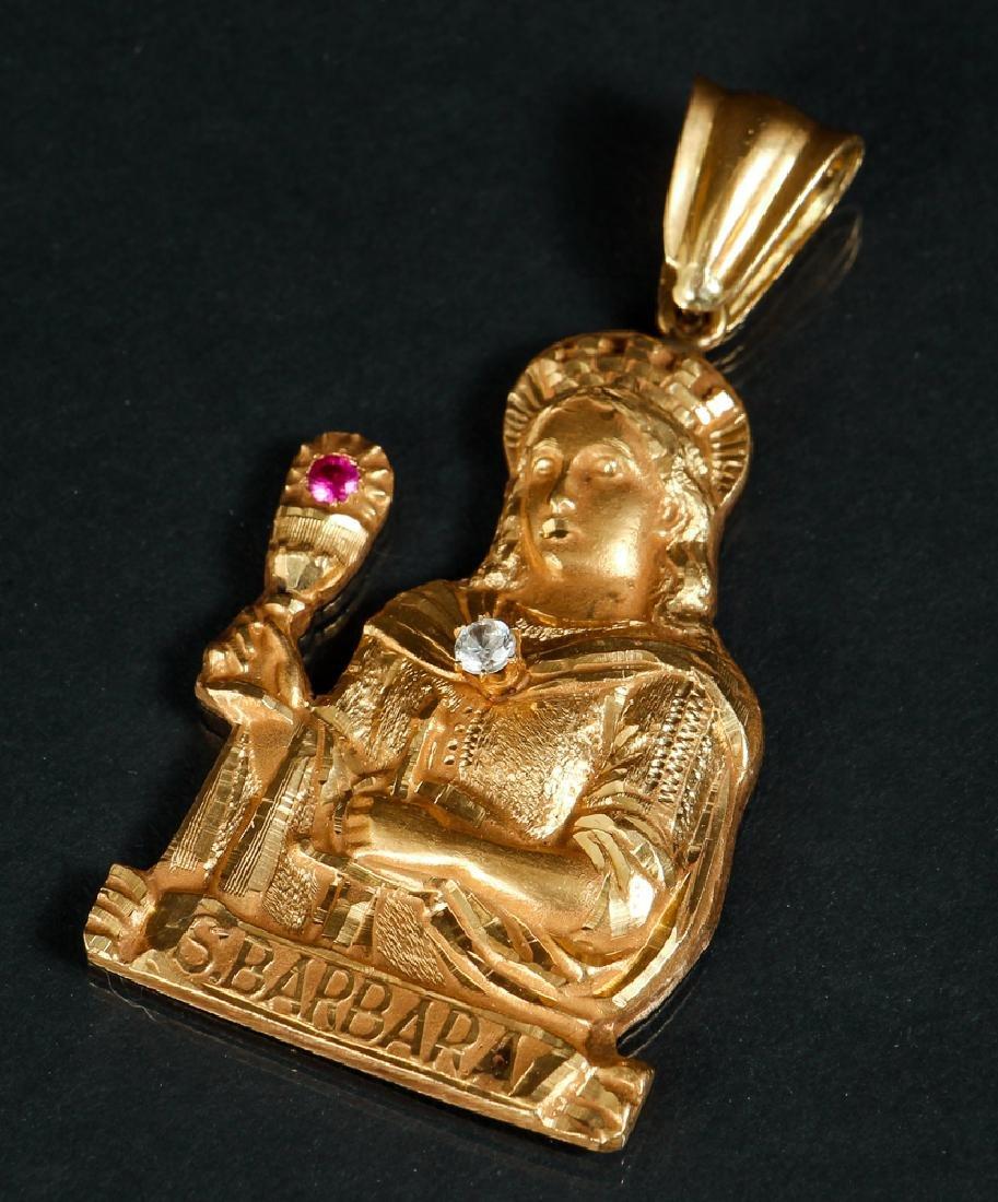 Saint Barbara 18 K Gold Diamond and Ruby Pendant