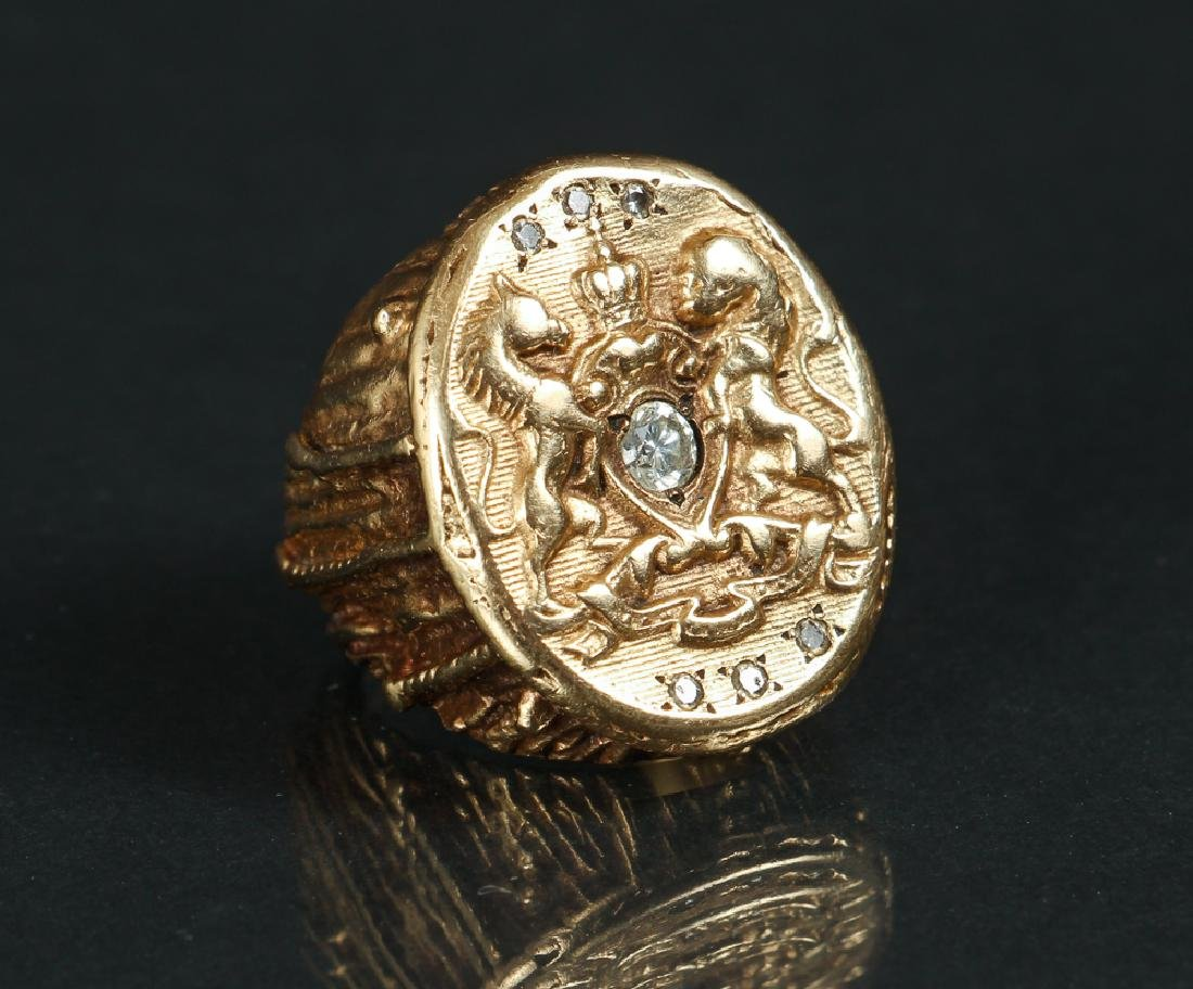14 K Gold and Diamond Seal Ring