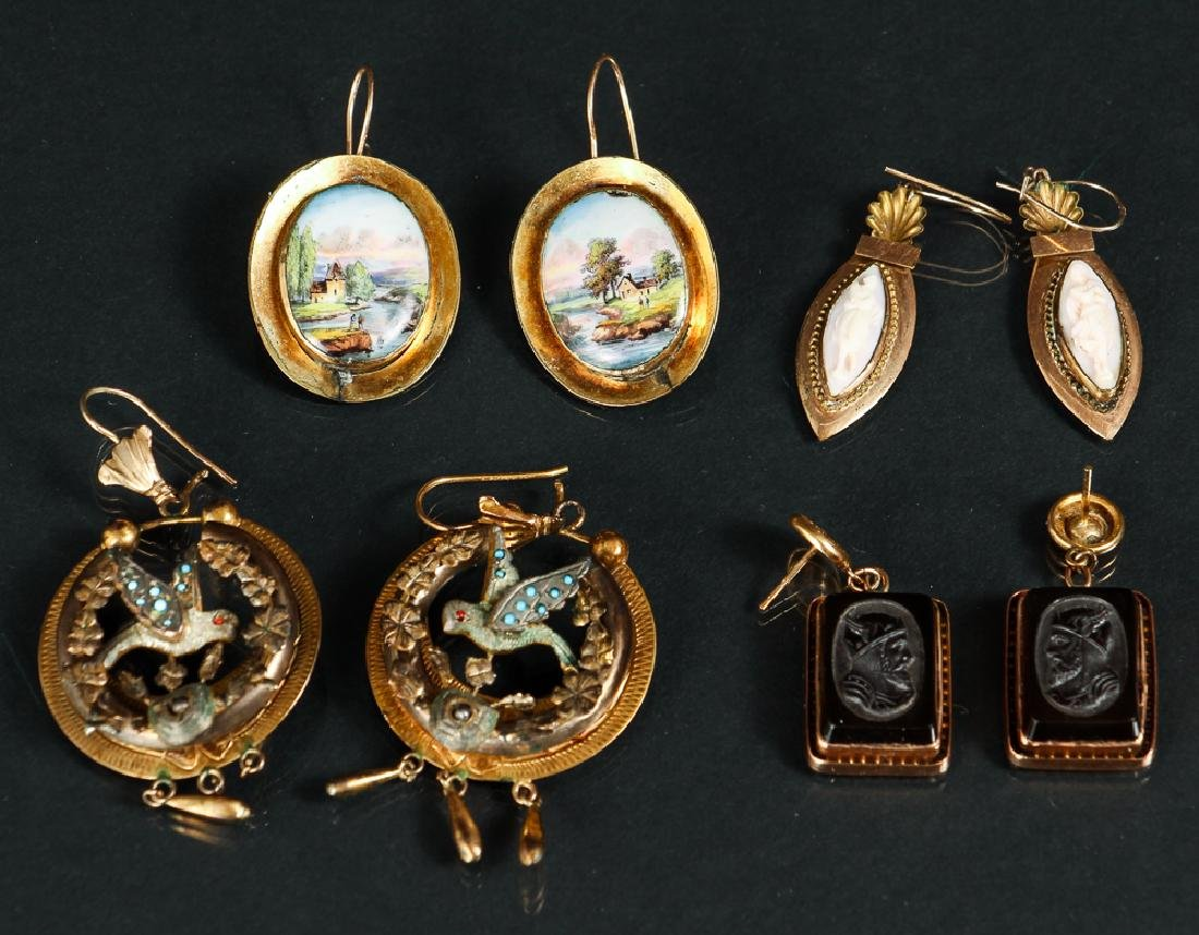 Four Pair Victorian Earrings