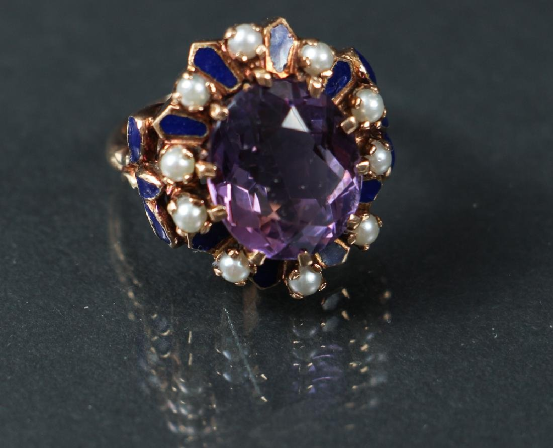 14 K Gold, Amethyst, Seed Pearl and Enamel Ring