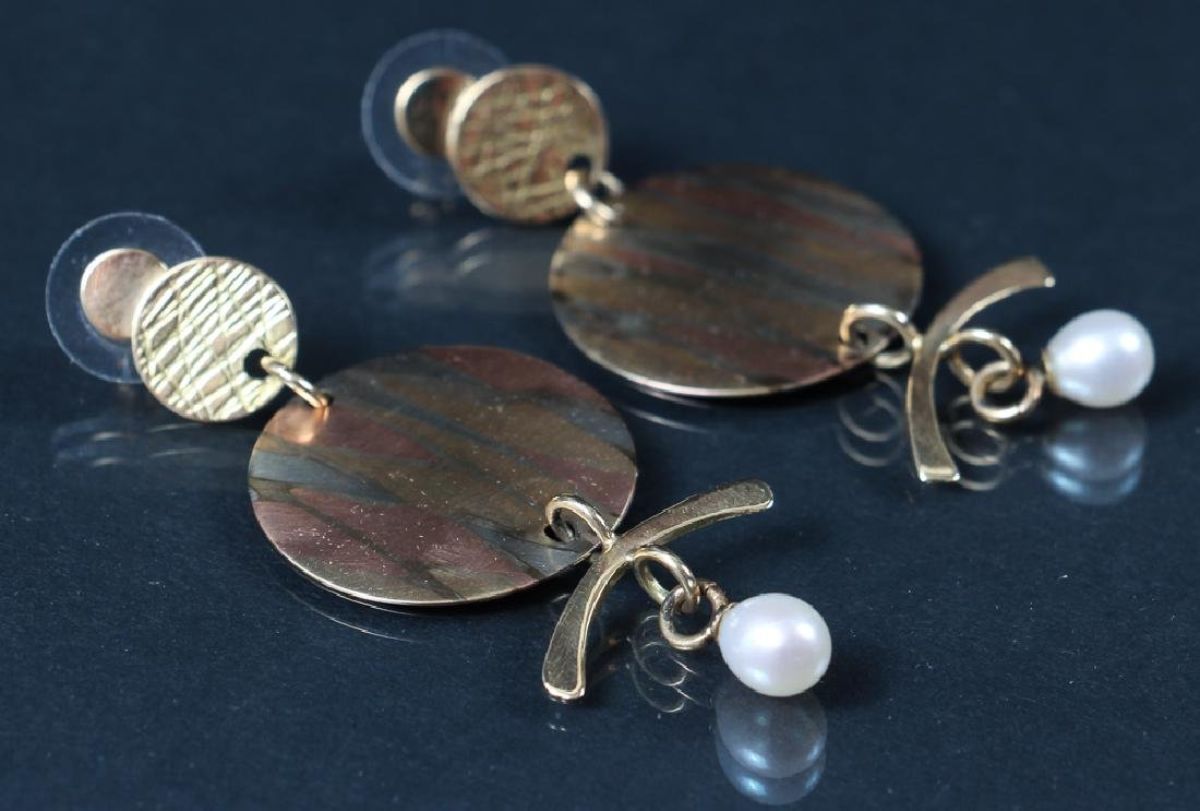 14 K Gold, Mixed Metal and Pearl Earrings
