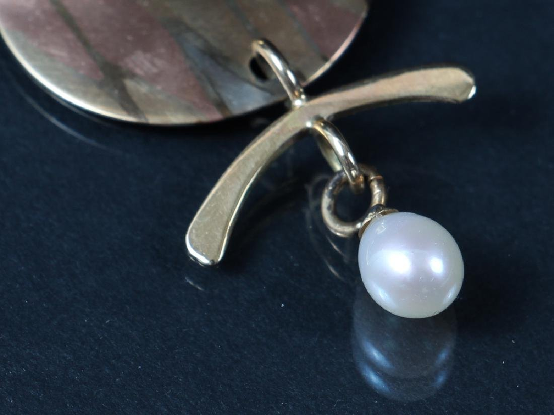 14 K Gold, Mixed Metal and Pearl Earrings - 2