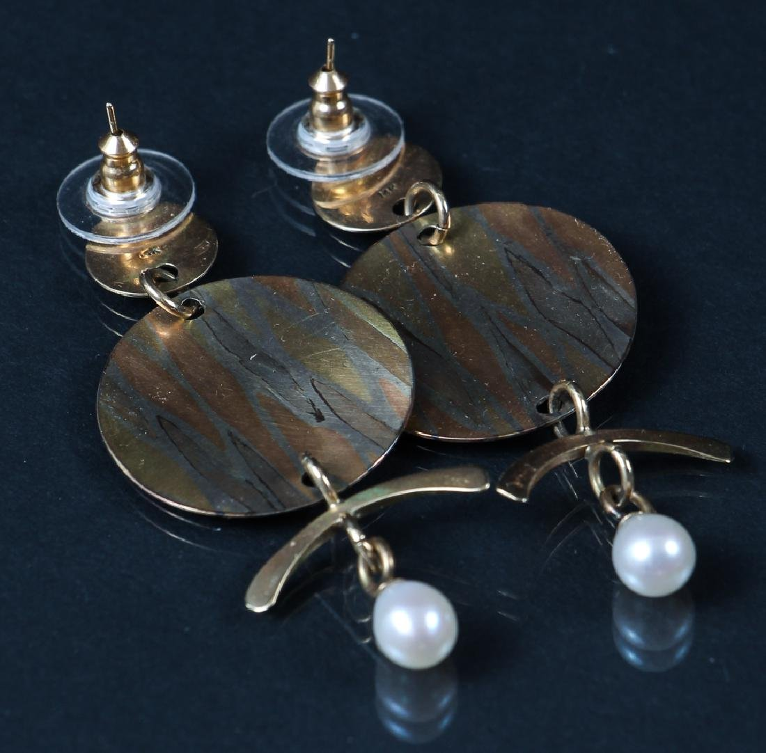 14 K Gold, Mixed Metal and Pearl Earrings - 3