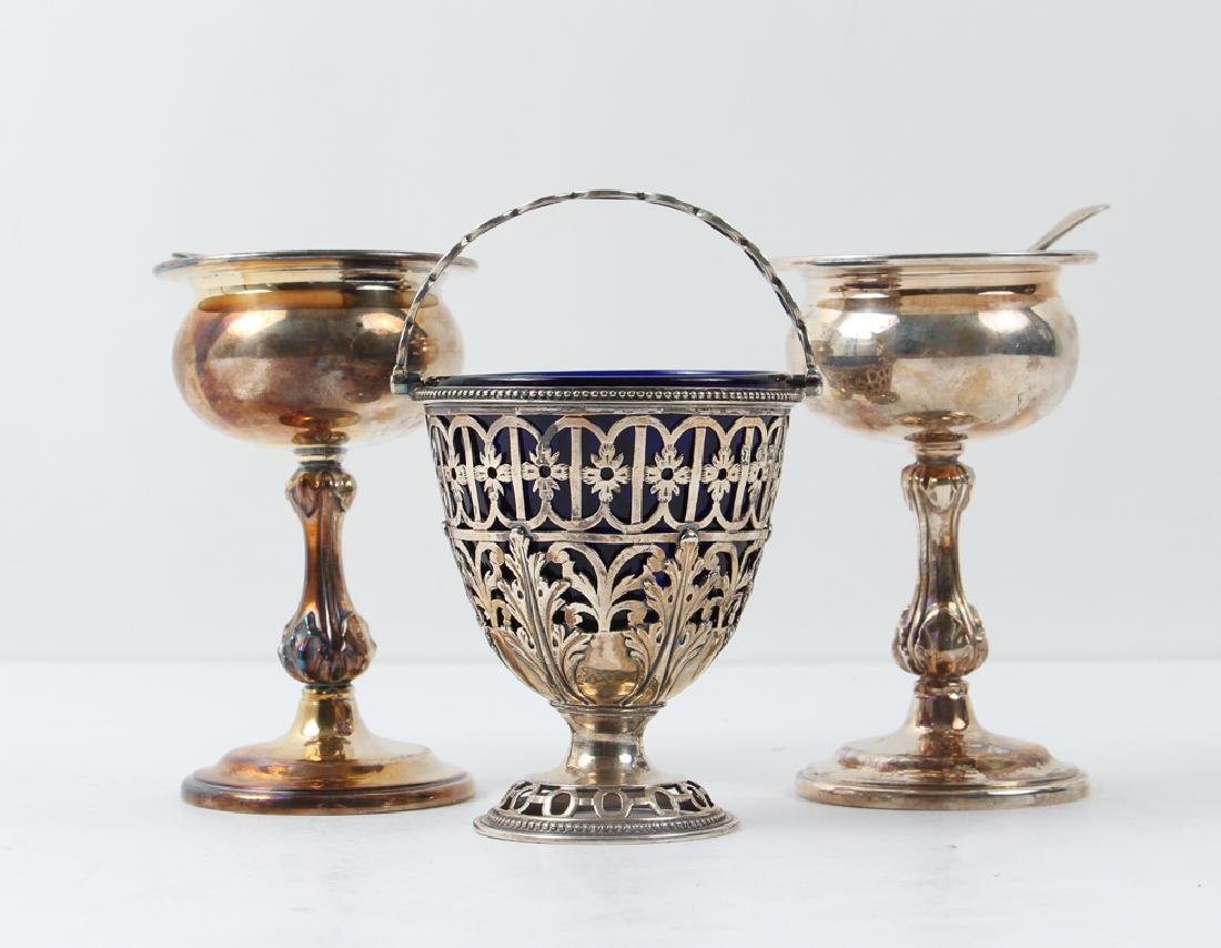 Three Silver and Cobalt Salts and Two Spoons