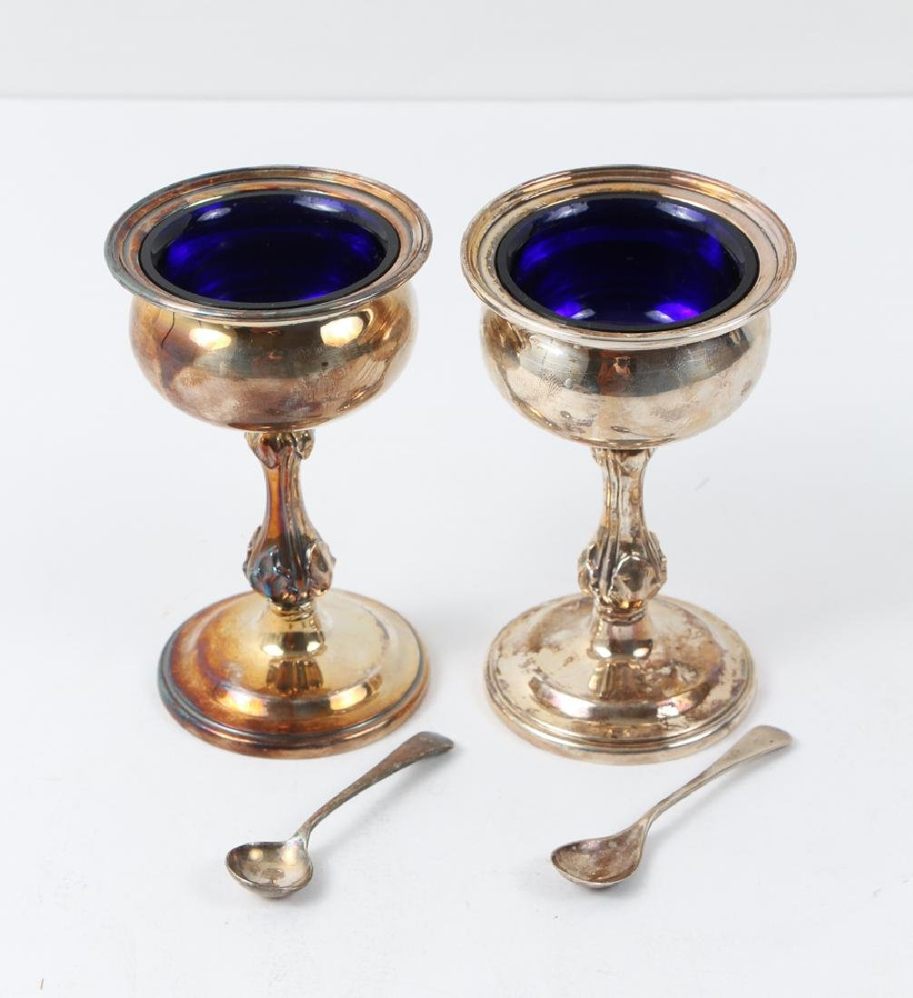 Three Silver and Cobalt Salts and Two Spoons - 2