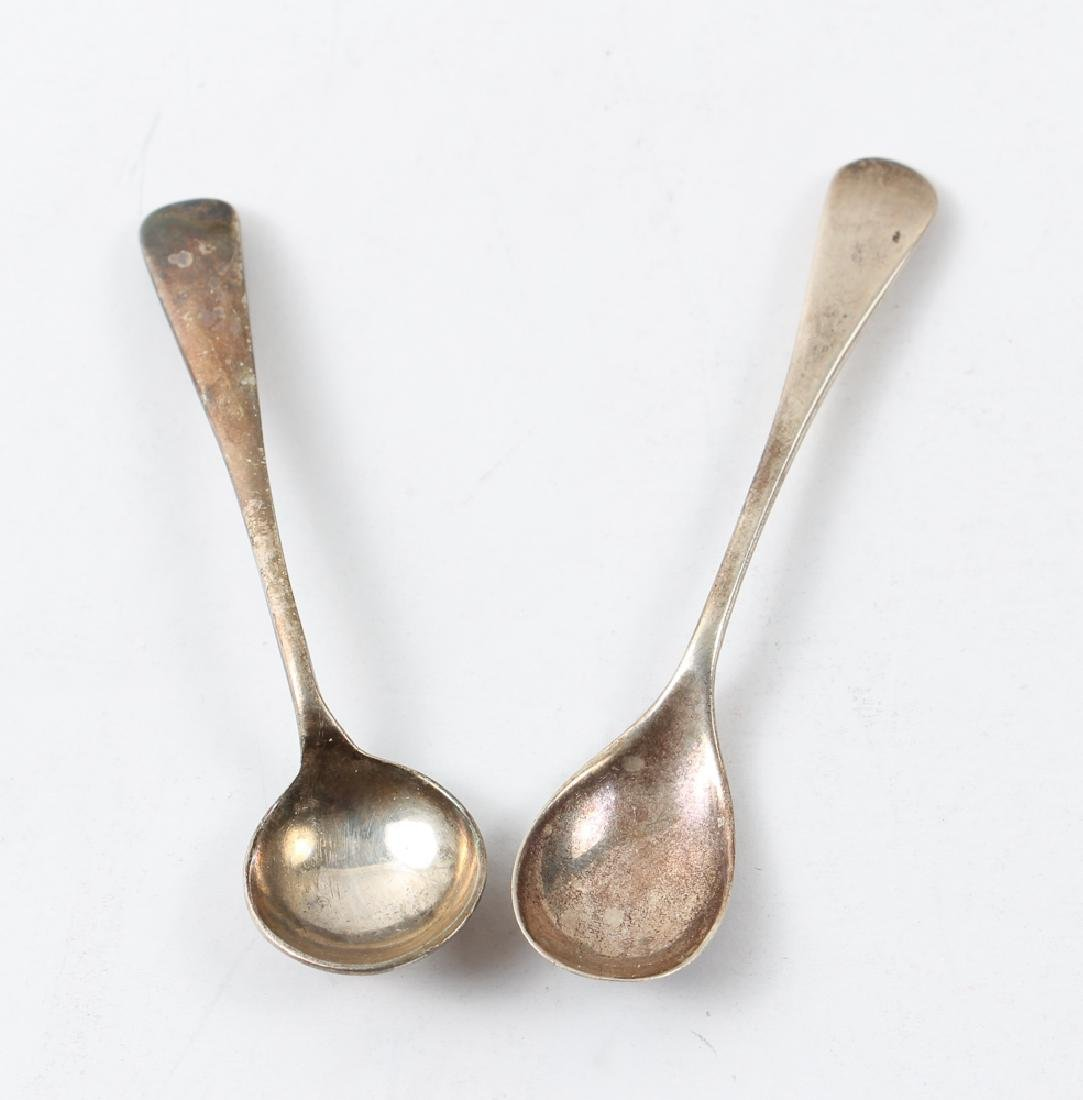 Three Silver and Cobalt Salts and Two Spoons - 3