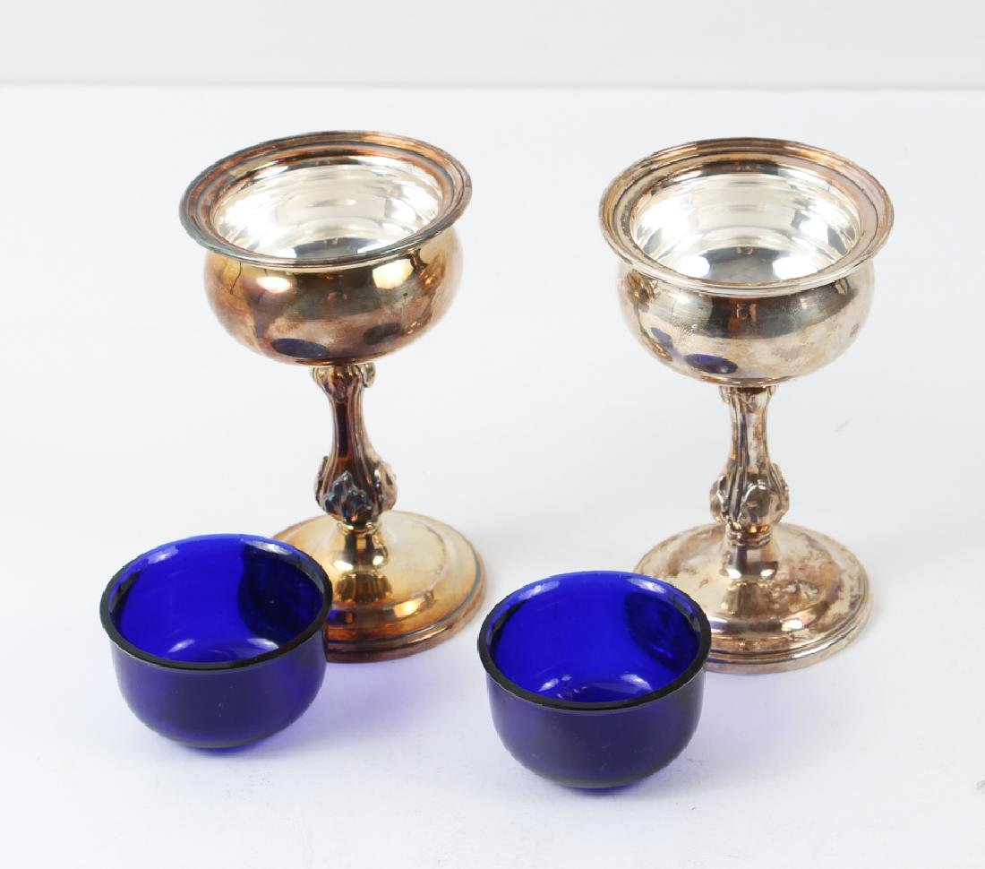Three Silver and Cobalt Salts and Two Spoons - 4