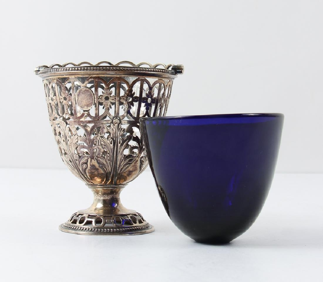 Three Silver and Cobalt Salts and Two Spoons - 8