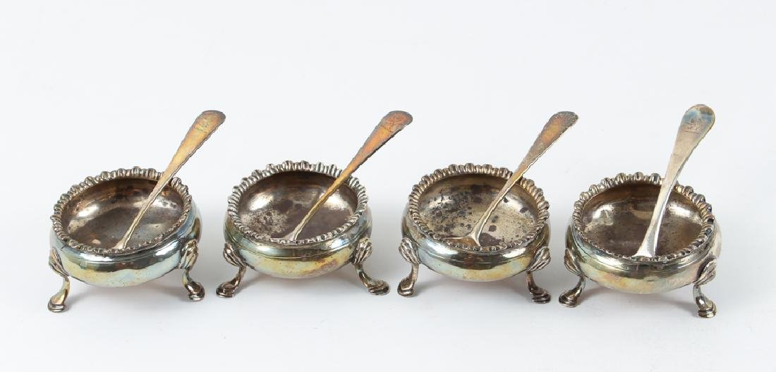 Set Four Sterling Silver Salt Cellars and Spoons