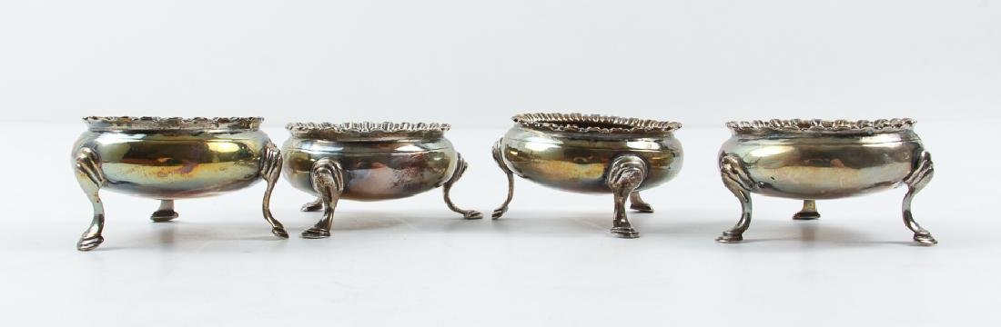Set Four Sterling Silver Salt Cellars and Spoons - 4