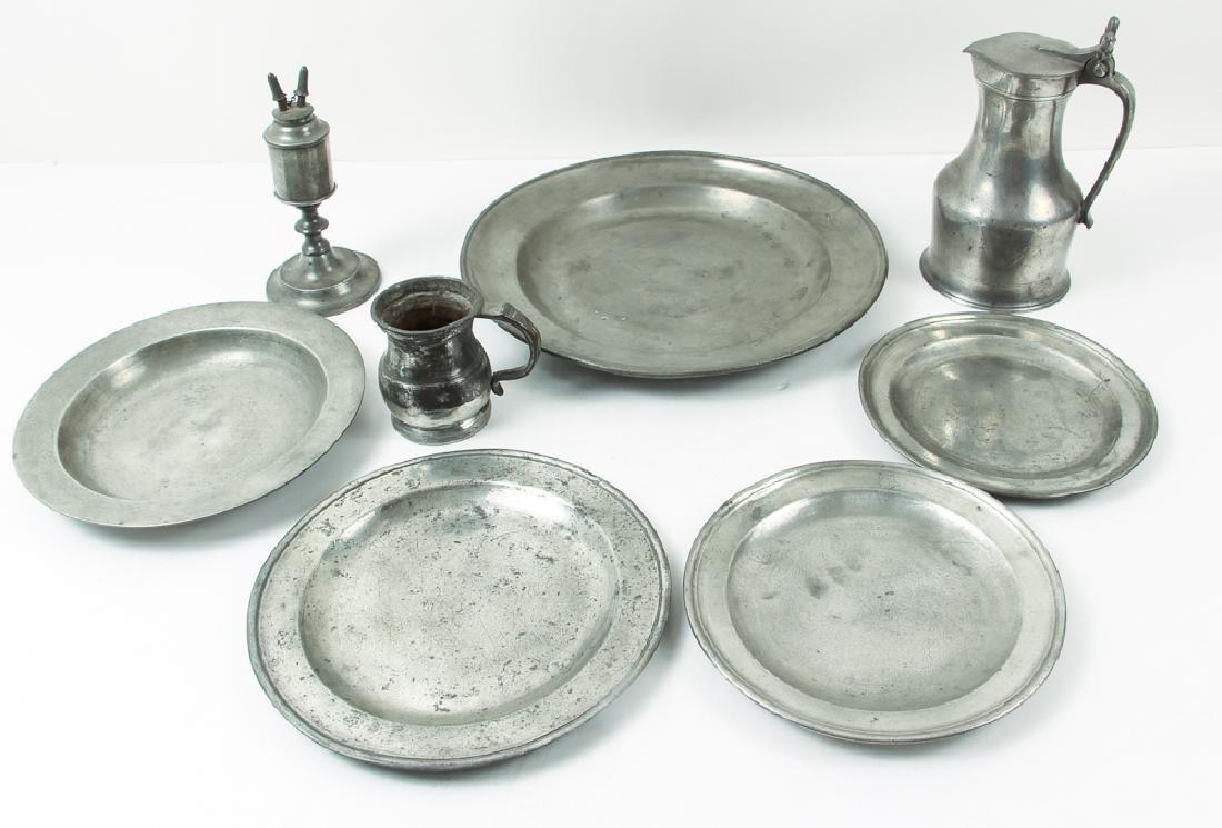Eight Pieces Antique Pewter