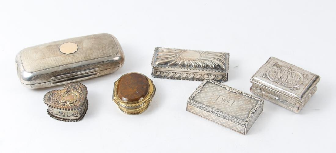 Six Antique Sterling Silver Boxes
