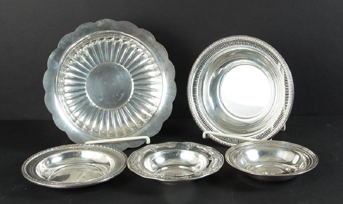 Five Sterling Silver Serving Bowls