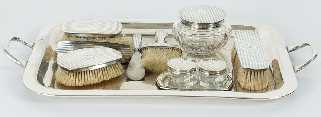 10 Piece Sterling Silver Dresser Set with Plated Tray