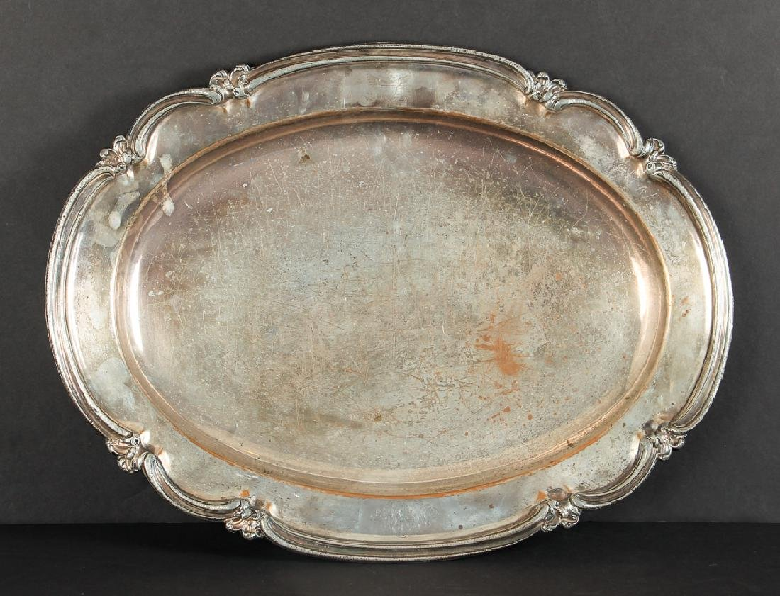Large Sheffield Plate Platter with Eagle Insignia