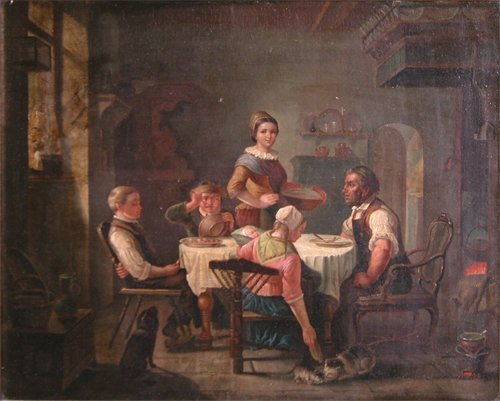 6: 19th Century Continental Genre Oil Painting Family V