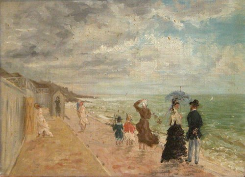 7: French Beach Scene, Oil Painting, c. Late 19th Centu