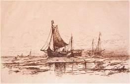 147 Mauritz Frederic Henri de Haas Etching Fishing Bo