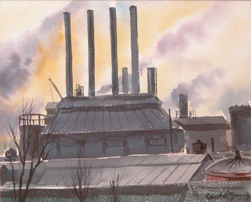 219: 2 Robert R. Young Industrial Watercolors