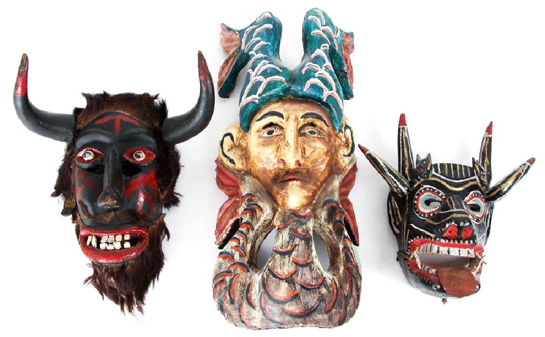3 Mexican carved wooden Masks possibly Guerrero