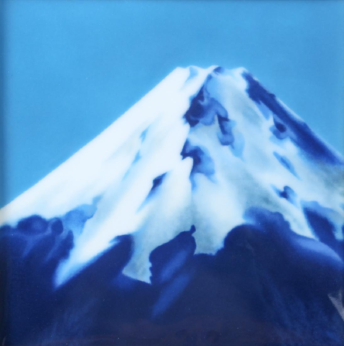Ando Japanese enameled plaque Mt. Fuji