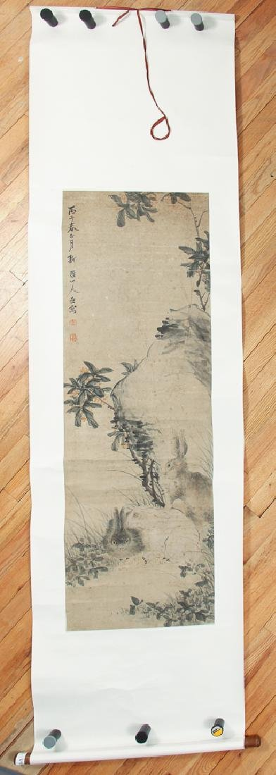 Antique Chinese Scroll with Rabbits - 2
