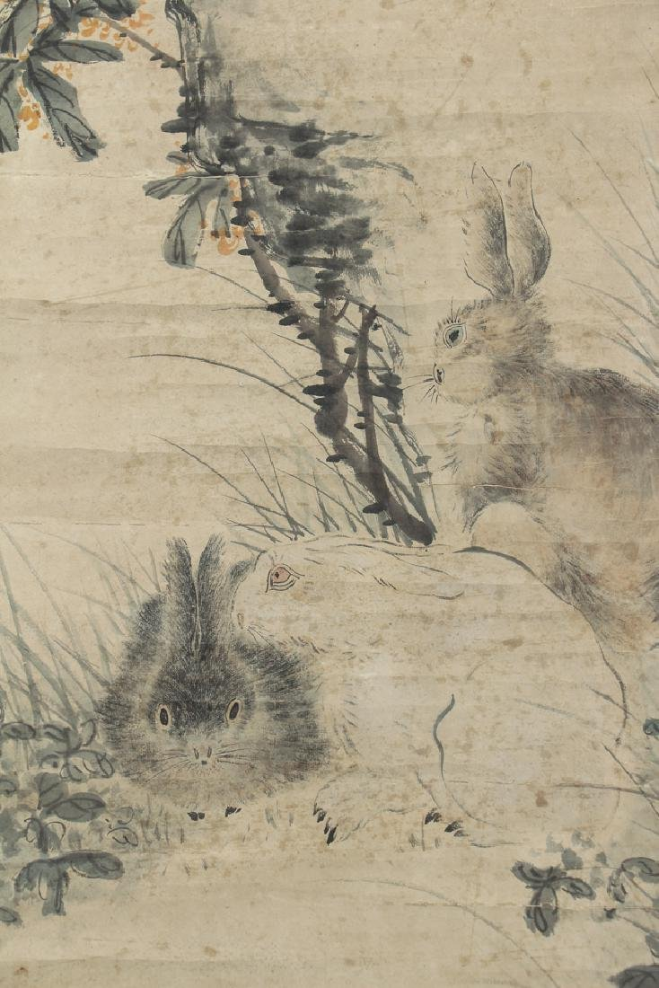 Antique Chinese Scroll with Rabbits - 3