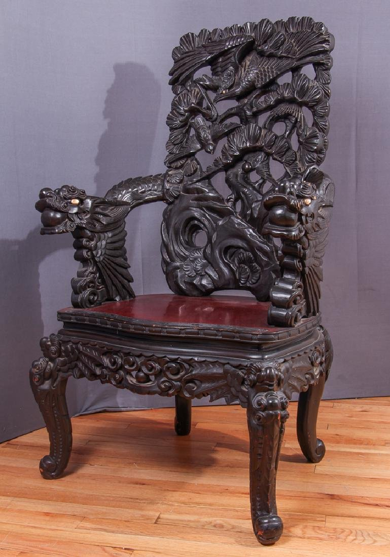 Elaborately Carved Antique Japanese Chair