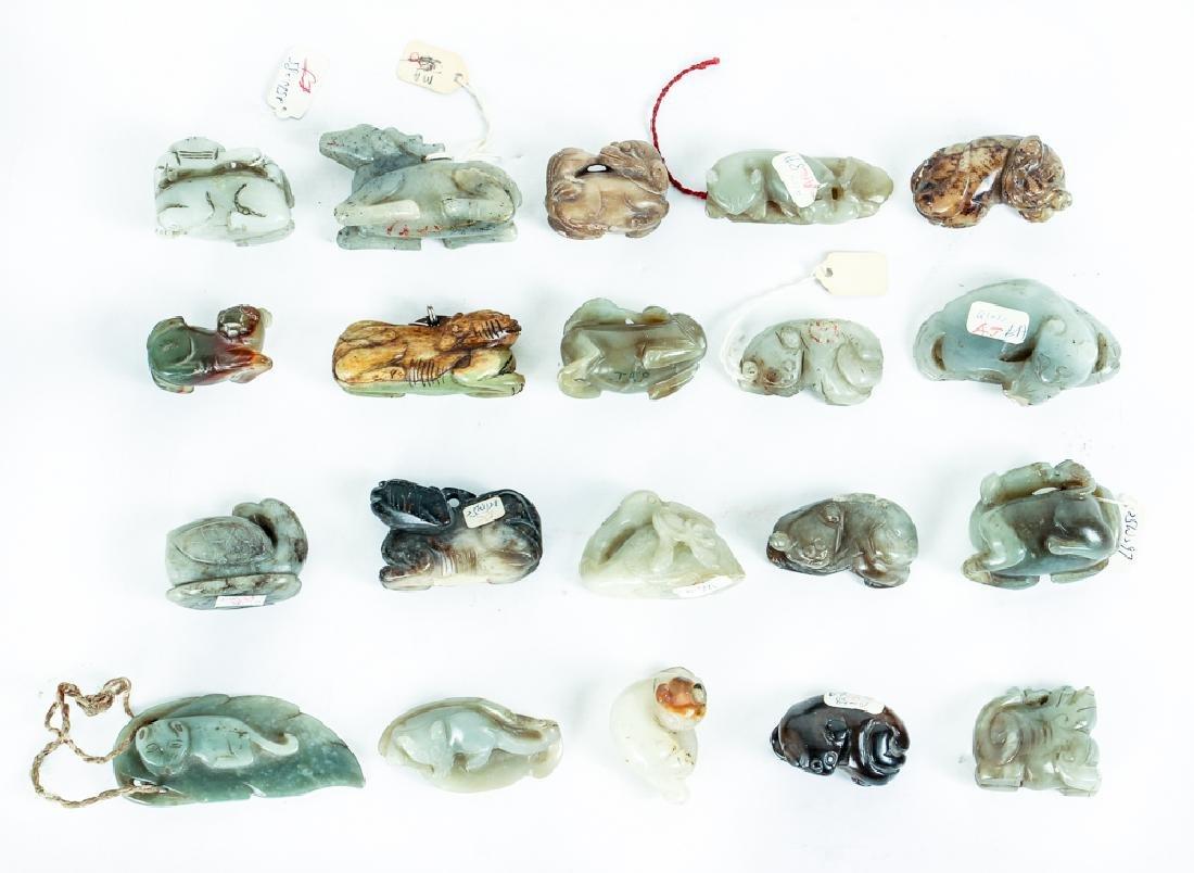 Twenty Diminutive Jade or Nephrite Animal Carvings