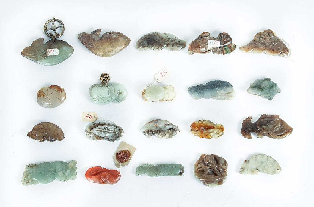 Twenty Diminutive Jade Fish or Nephrite Carvings