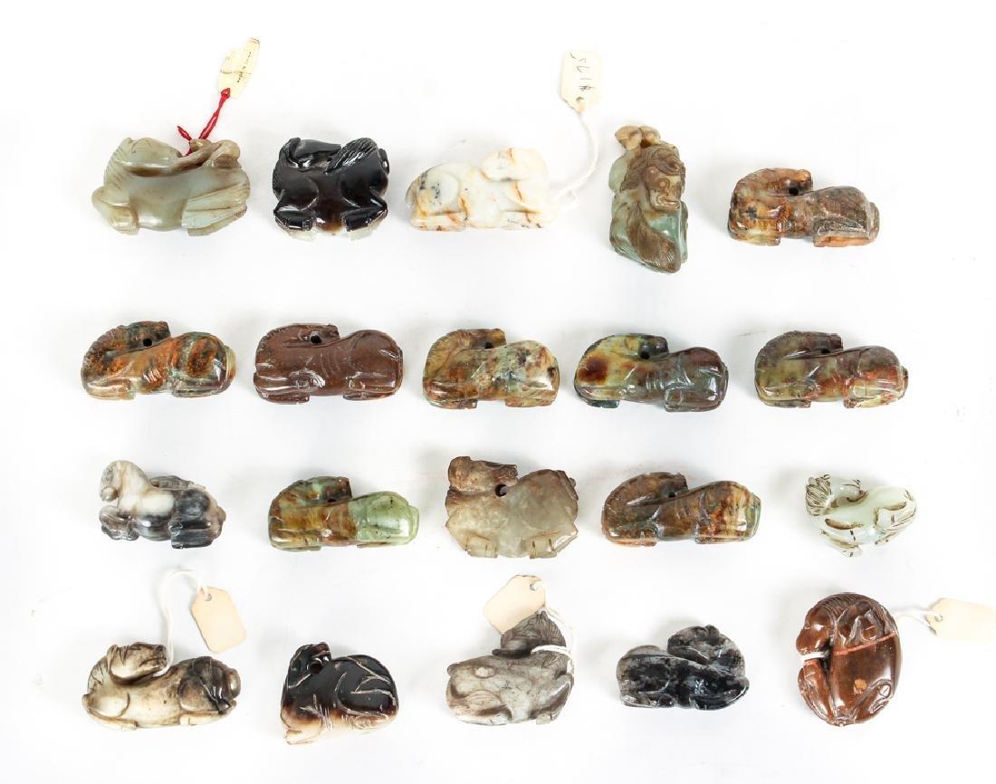 Twenty Diminutive Jade or Nephrite Horse Carvings