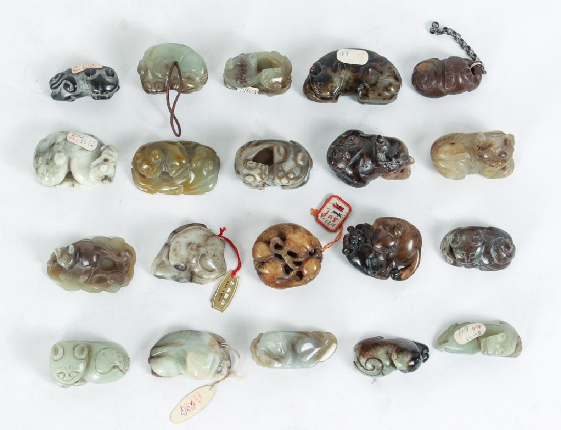 Twenty Diminutive Chinese Cat Jade or Nephrite Carvings